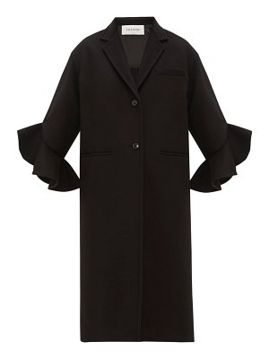 Valentino ruffled-cuff single-breasted wool-blend coat