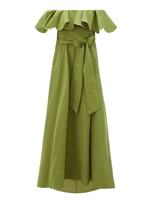 Valentino ruffled off-the-shoulder cotton-blend gown