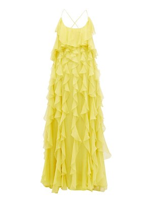 Valentino ruffled open-back silk-chiffon gown