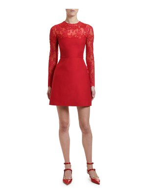 Valentino Scalloped Lace Inset Cocktail Dress