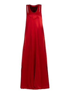 Valentino Scoop-neck layered satin-back crepe gown