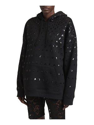 Valentino Sequined V-Logo Embroidered Hoodie