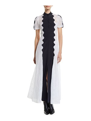Valentino Short-Sleeve Button-Front Organdy Midi Dress