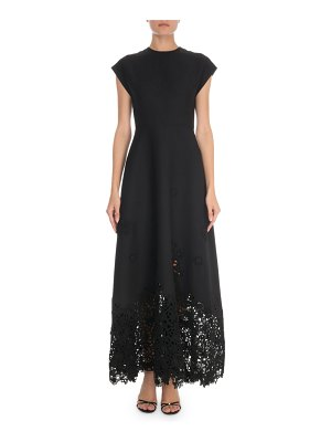 Valentino Short-Sleeve Crepe Couture Macrame-Hem Gown