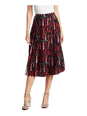 Valentino lipstick-print pleated skirt