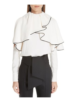 Valentino silk ruffle cold shoulder blouse
