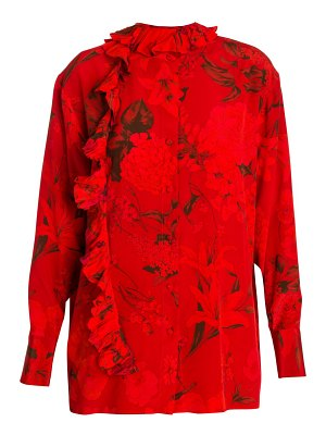 Valentino silk ruffle floral blouse
