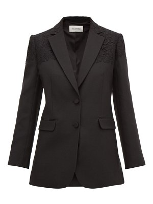 Valentino single-breasted lace-trimmed wool-blend blazer