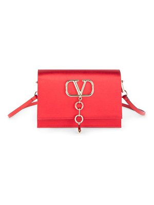 Valentino small vlogo satin convertible clutch