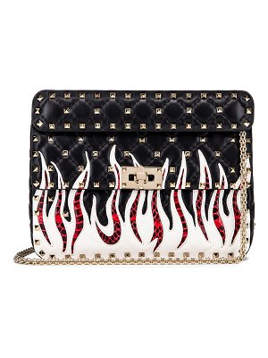 Valentino Spike It Flames Medium Shoulder Bag