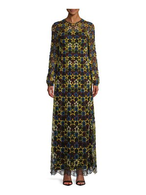 Valentino Star Long-Sleeve Evening Dress