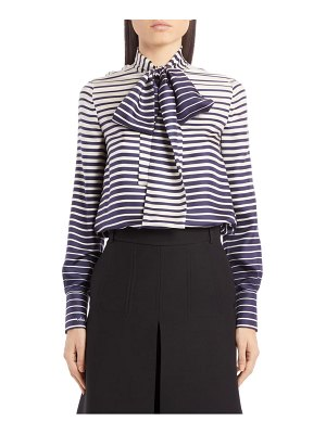 Valentino stripe tie neck silk blouse