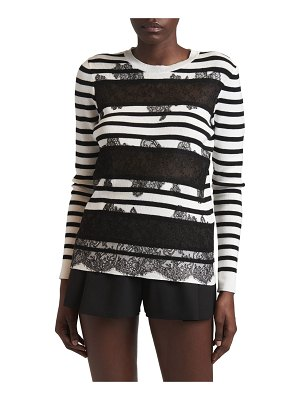 Valentino Striped Sheer Lace-Panel Sweater
