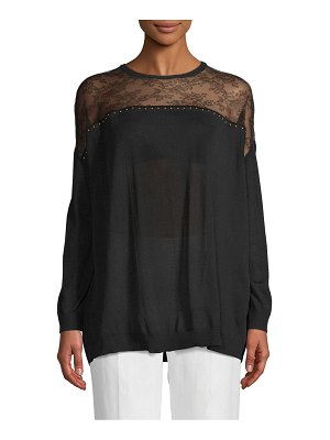 Valentino Studded and Lace Wool Sweater
