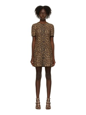 Valentino tan leopard printed couture dress