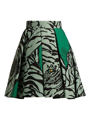 Valentino Tiger-print wool and silk-blend skirt