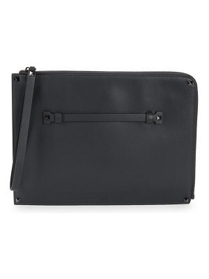 Valentino Top Zip Leather Clutch