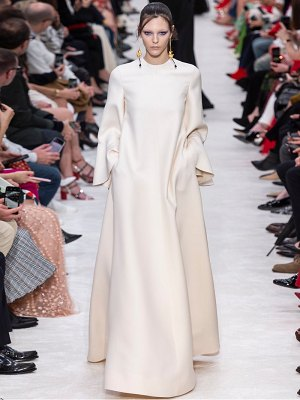 Valentino trumpet-sleeve wool-blend gown
