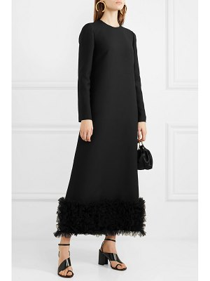 Valentino tulle-trimmed wool and silk-blend crepe gown