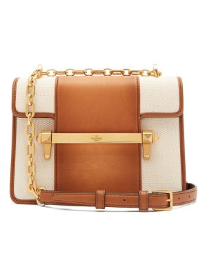 Valentino Uptown Small Leather And Canvas Cross Body Bag