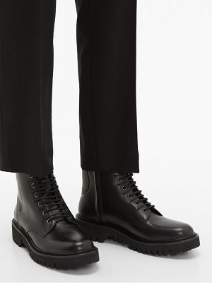 Valentino v logo lace up leather boots