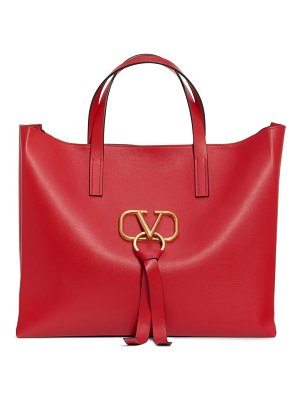 Valentino v-ring leather tote