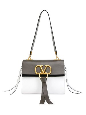 Valentino V Ring Small Bicolor Leather Shoulder Bag