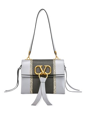 Valentino V Ring Small Leather Karung Shoulder Bag