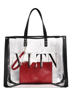 Valentino Logo tote bag w/ leather details