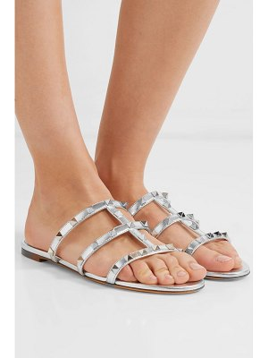 Valentino valentino garavani the rockstud metallic textured-leather sandals