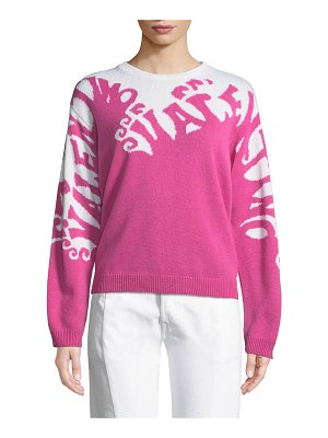 Valentino Valentino-Waves Long-Sleeve Cashmere Sweater