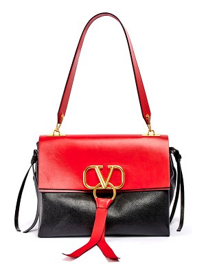 Valentino Vee Ring Medium Colorblock Leather Shoulder Bag