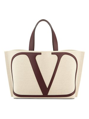 Valentino Vlogo Large Canvas/Leather Tote Bag
