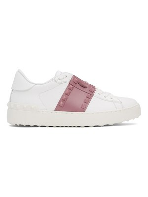 Valentino white and pink rockstud open sneakers