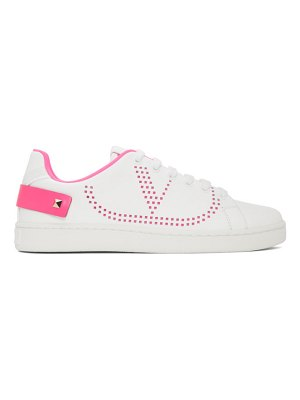 Valentino white and pink vlogo backnet sneakers
