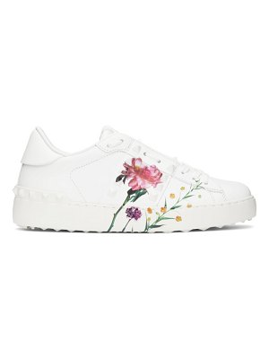 Valentino white  garavani inez and vinoodh edition flower rockstud untitled sneakers