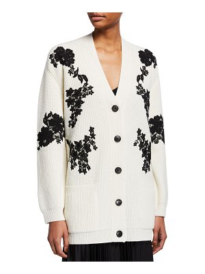 Valentino Wool-Cashmere Knit Floral Lace Cardigan