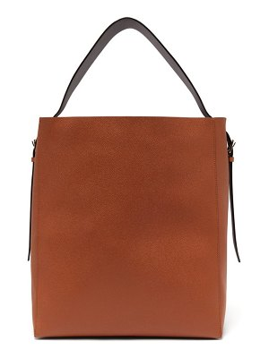 VALEXTRA adjustable-strap grained-leather tote bag