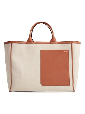 VALEXTRA canvas & leather tote