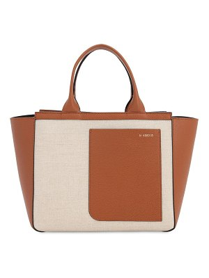 VALEXTRA Leather & canvas tote bag