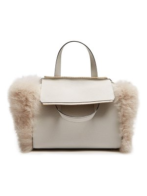 VALEXTRA passepartout medium shearling-trimmed leather bag