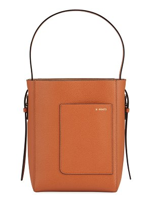 VALEXTRA Pebbled Leather Top Handle Bucket Tote Bag