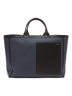 VALEXTRA shopping canvas and leather tote bag