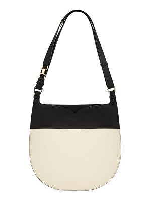VALEXTRA Weekend Small Colorblock Leather Hobo Bag