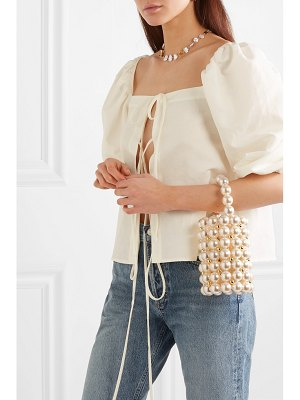 Vanina comino faux pearl and gold-tone beaded tote