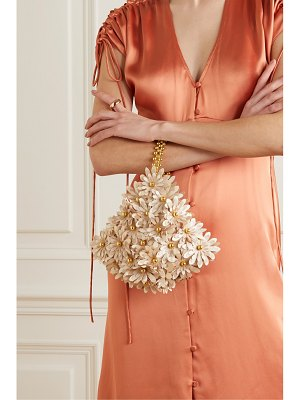 Vanina inflorescence gold-tone and hammered-satin tote