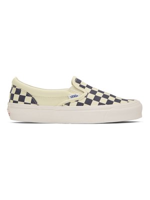 Vans and off-white checkerboard classic slip-on sneakers