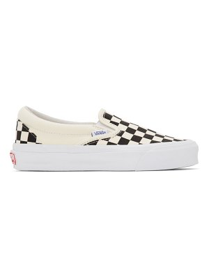 Vans black and off-white checkerboard og classic slip-on lx sneakers