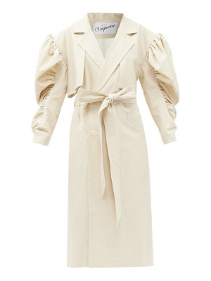 VAQUERA double-breasted balloon-sleeve cotton trench coat