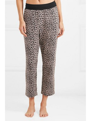 Varley catherine cropped leopard-print stretch modal and cotton-blend track pants